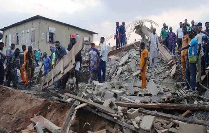 One killed, 4 rescued in Onitsha building collapse - three persons, the site engineer, the rescue mission, still trapped, rescued, Onitsha, one, four persons